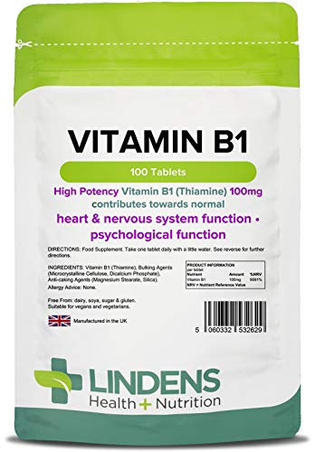 Lindens Vitamin B1 Thiamin 100mg Tablets | 100 Pack | Super-Strong 7000% Nrv Tablets Contributes to Healthy Metabolism and Healthy Heart Function