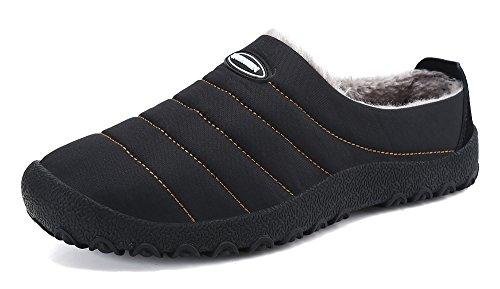 DAFENP Zapatillas de Casa para Hombre/Mujer Zapatillas Fluff Antideslizantes Invierno Cálido Confortables Casa Interior/al Aire Libre XZ322-black-EU37