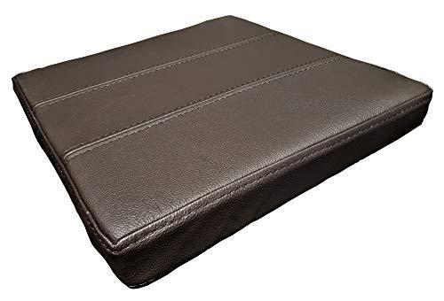 Quattro Meble Zitkussen van echt leer, donkerbruin, lederen kussen, zitkussen voor stoel en bank, dubbel genaaid, echt leer, kussen, zitkussen, model 3P B-60 x T-50 cm Donkerbruin - Mdr Dark Brown