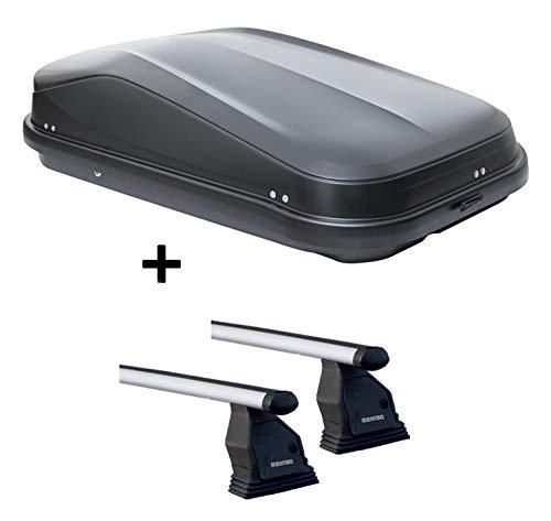 VDP Dachbox JUEASY320 schwarz glänzend abschließbar 320 Ltr + Aluminium Dachträger Menabo Tema kompatibel mit Mercedes CLA Shooting Brake (X117 Kombi 5 Türer) ab 2015
