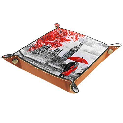 Small Storage Box,Mens Valet Tray,Oil Painting Paris Street Scene,Leather Catchall Organizer for Coin Box Key Jewelry