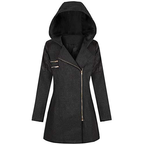 OIKAY Winter Outwear Hooded Zipper Mantel Damen Warm Slim Jacke Dicke Parka Mantel Jacke(YB Schwarz,3XL)