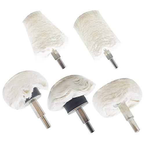 Lifreer Polishing Pads for Drill, 5 Pcs Polishing Wheels Buffing Wheels for Drill Cotton Polishing Pad Mop Kit Tool for Car, Metal, Stainless Steel, Jewelry, etc Cone/Column/Mushroom
