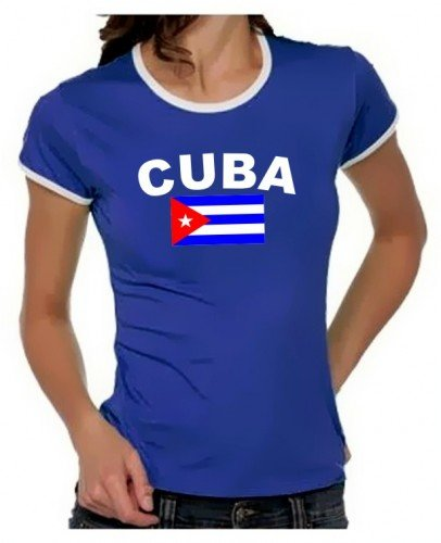Coole-Fun-T-Shirts Kuba Flagge Cuba Libre Girly Ringer Royalblau/Weiss, Gr.M