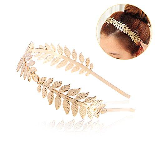NUOLUX Roman Goddess Leaf Branch Dainty Bridal Hair Crown Head Dress Boho Alice Band (Gold)