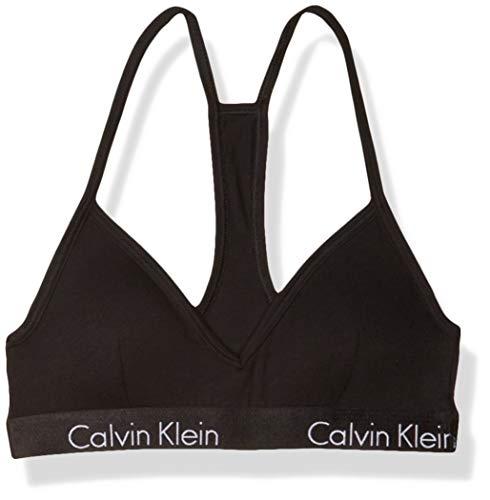 Calvin Klein Women's Motive Cotton Lightly Lined Bralette, Black, L