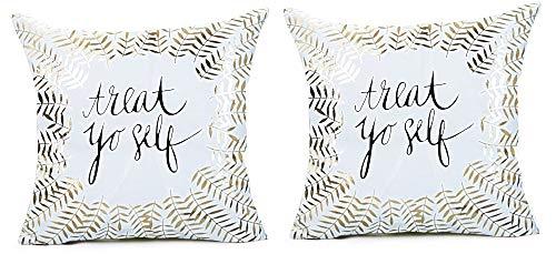 2 kussenslopen vierkant kussen - sierkussen - 44 x 44 cm - bank - linnen - huis - bed - meubels - slaapkamer - bladeren - trakteer uzelf - wit - goud bedrukt - origineel cadeau idee