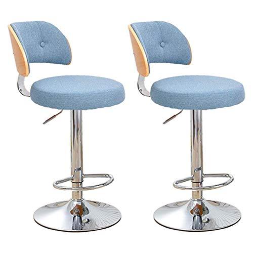 Cxcdxd Taburetes de Bar Juego de 2 sillas de Barra de mostrador de Desayuno de Cocina con reposapiés Taburete Giratorio de 360 ° Ajuste de Altura (60-80cm) Azul-3