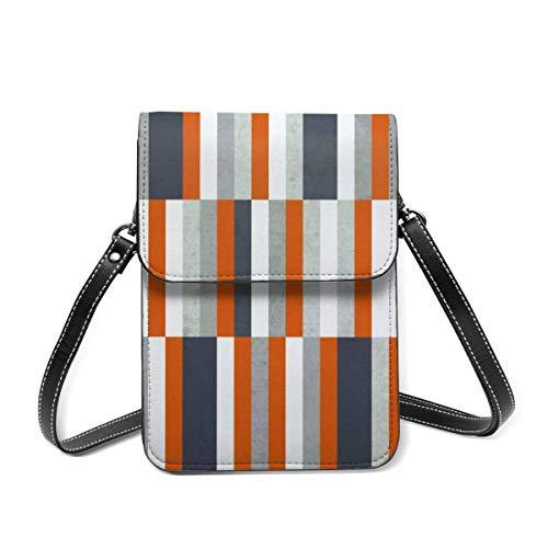 Small Shoulder Bag, Orange Navy Blue Gray Grey Stripes Abstract Crossbody Bag CellPhone Wallet Purse Lightweight Crossbody Handbags for Women Girl