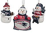 FOCO NFL New England Patriots Holiday Christmas Team Logo 3-Pack Snowman Gameday Ornament SetHoliday Christmas Team Logo 3-Pack Snowman Gameday Ornament Set, Team Color, One Size (SMNFGDSET3)