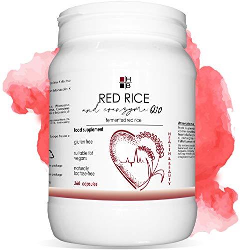 ROTER REIS und COENZYM Q10 | 360 Kapseln | fermentierter roter Reis | mit VITAMIN Q | Italienisches Produkt