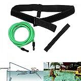 FOOING Cinghia per Il Nuoto delle Cinture da Piscina, Cintura per Il Nuoto per Allenamento stazionario di Resistenza o Giri di Piscina con Cavo Elastico per Adulti e Bambini (4M Verde)