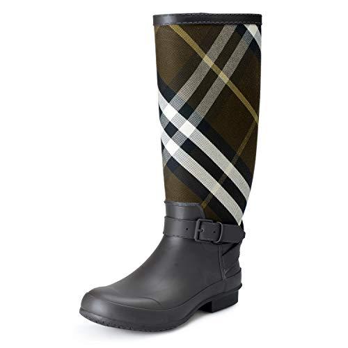 BURBERRY Women's Westbury Multi-Color Checkered Rainboots Shoes Sz US 11 IT 41