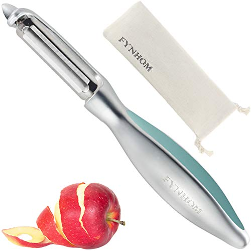 Premium Swivel Vegetable Peeler for Kitchen - Zinc Alloy Ultra Sharp Dual Blade, Comfortable Ergonomic Handle, Dishwasher Safe - Peeler for Potato, Carrot, Apple (Silver and Cyan)- By FYNHOM