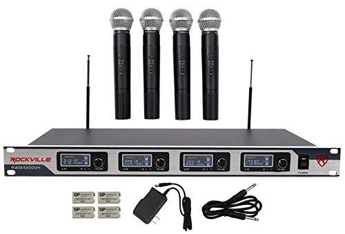 Rockville RWM4200VH VHF Wireless Quad Handheld Microphone System w LCD Display