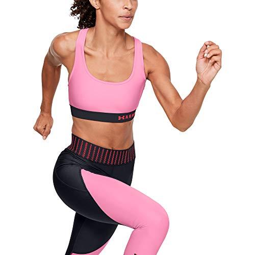 Under Armour Damen Mid Crossback Sport-BH Pink, Schwarz Unterwäsche, XS
