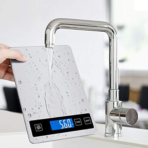 Báscula digital Jooheli, de acero inoxidable, 15 kg/1 g, con gran superficie de pesaje y tara, báscula de cocina de alta precisión (plata)