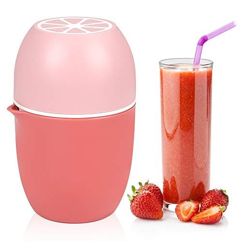 Wishstar Saftpresse Manuell, Orangenpresse Zitronenpresse mit Zwei Pressmöglichkeiten, Obstpresse für Zitronen/Limetten/Apfelsinnen/Orange/Grapfruit - Pink