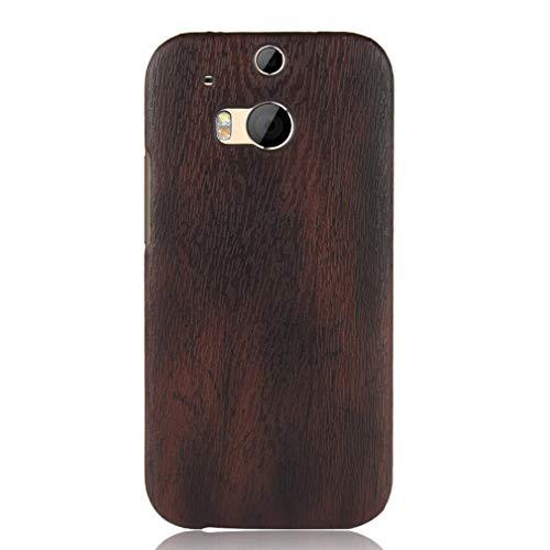 LMFULM® Hülle für HTC One M8 / One M8S (5,5 Zoll) Holz Außerhalb Harter PC Stoßfänger Silikon Hülle Dünner Handyhülle Dünne Rückseitige Abdeckung für HTC One M8 / One M8S Schwarz