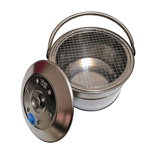 XLOO Mini portable Fire Pit - Small Firepit Bowl -Stainless steel,Outside with Cooking BBQ Grill Grate, Spark Screen- Portable with Handles - for Outside Patio & Backyard Use