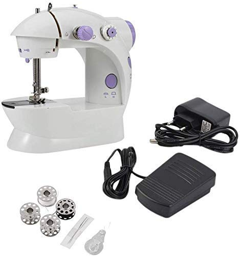 Draagbare lichtgewicht naaimachine voor huishoudelijk gebruik Naaimachine met twee snelheden, elektrische handheld mini-aanpassing met lichte voet, slinger-naaimachine met dubbele lijn