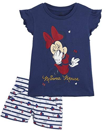 Disney Minnie Mouse Schlafanzug Mädchen, Zweiteiler Baumwolle Pyjama Set für Kinder, Sommer Schlafanzug Kurz, 3 Coole Design, Geschenke für Kinder (Navy/Weiss, 3 Jahre)