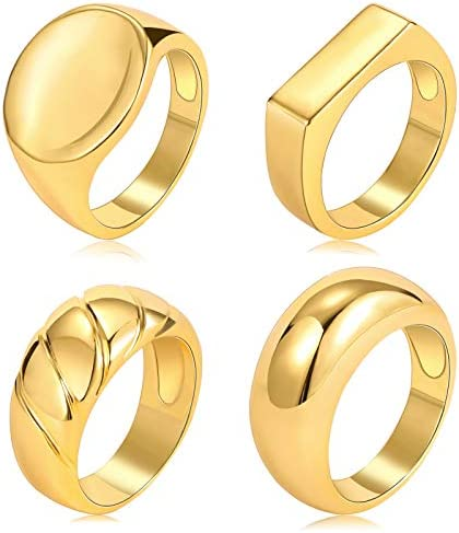 17 MILE 4 PCS Gold Chunky Dome Rings Set for Women 18K Real Gold Signet Polished Round Stacking product image
