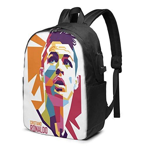 IUBBKI Bolsa para computadora mochila USB Cris-Tia-No-Rona-Ldo-Poster 17 Inch Laptop Backpack For Men & Women,Travel/School Backpack With Usb Charging Port & Headphone Interface