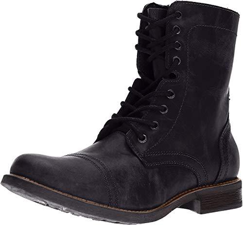 Steve Madden Men's TROOPAH-C Combat Boot, Black Leather, 13 M US