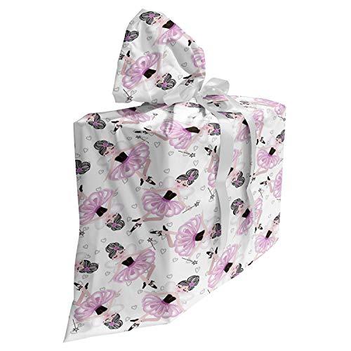 ABAKUHAUS Ballet Cadeautas voor Baby Shower Feestje, Nursery Ballerina Girl Tutu, Herbruikbare Stoffen Tas met 3 Linten, 70 cm x 80 cm, Peach Pink
