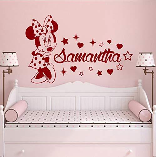 Calcomanía de pared de Minnie para niñas, dormitorio, vinilo, pegatinas de pared, habitación para niños, Animal Mouse, guardería 57 * 43 cm