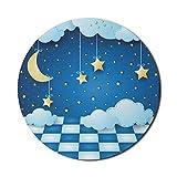 Alfombrilla de ratón infantil para ordenadores, noche surrealista con nubes de luna colgantes y suelo, tema para niños, niñas, niños, redonda, antideslizante, de goma gruesa, moderna, para juegos, red