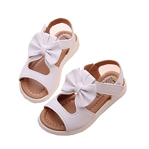 Verano Niños Niños Sandalias Bowknot Chicas Plano Precio Zapatos Antideslizante PU Cuero Zapatos (5.5C-11.5C)
