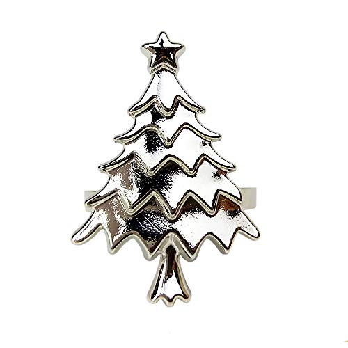Yalulu Serviettenringe, 6 Stück Weihnachten Baum Serviettenringe Serviettenhalter für Tischdekorationen, Hochzeiten,Weihnachten, Banquet Dinner Dekor (Silber)
