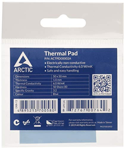 ARCTIC - Thermal Pad 50 X 1.0 mm | Thermal Pad for All CPU Coolers | Efficient Thermal Conductivity | Gap Filler | Safe Handling | Easy to Apply