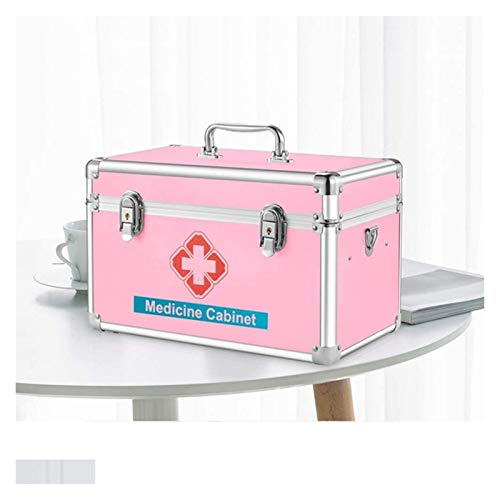 Portable First Aid Box Lockable Aluminium Emergency Box Survival Kits Security Lock Storage Carrying Handle Case for Home, Office, Business, Car, Camping and Travel 1024