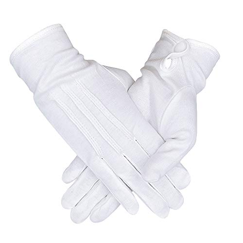 5 Pairs White Cotton Women Gloves for Formal Parade Marching Costume Party Dress