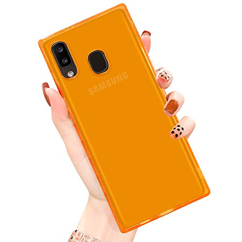 PERRKLD Samsung Galaxy A20 Case Square Soft TPU Bumper Slim Clear Transparent Reinforced Corners Shockproof Cover Phone Case for Samsung Galaxy A20-Clear Orange