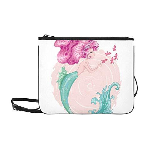 WYYWCY Niedliche Meerjungfrau-Entwurfs-Schablonen-Entwurfs-Karten-Gewohnheits-hochwertiges dünnes Nylon-Handtasche