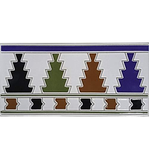 Casa Moro Orientalische Fliesen-Bordüre Ceuta 28x14 cm rechteckig | Marokkanische Bordüre schöne Wandfliese für Küche Bad Wohnzimmer & Küchenrückwand | FL3071