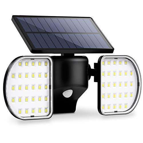 OUSFOT Luce Solare Led Esterno Lampada Solare da Parete con Pannello 56 Led Impermeabile Luci Solari Sensore di Movimento Sicurezza Faretti Solari Garage