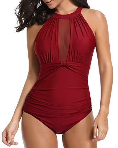Tempt Me Women One Piece Swimsuit High Neck V-Neckline Mesh Ruch Swimwear Red L