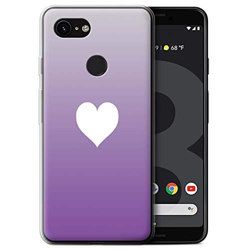 Stuff4 beschermhoes/cover/behuizing/gel/TPU/protetetiva bedrukt met het patroon paars voor Google Pixel 3 – oogschaduw hart/liefde