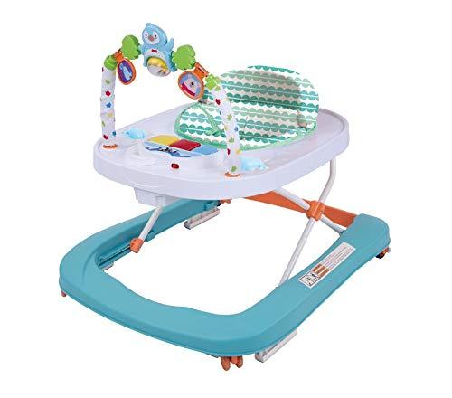 Andador para Bebé Primeros pasos Andador Redondo Multifuncional Baby Go, Andador Plegable de Música para Niños Pequeños de Primer Paso con Bandeja de Alimentación EN1273:2005