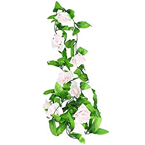 Artificial and Dried Flower Wisteria Summer White Flowers Green Leaves Vine Garland Silk Vine Artificial Hanging Plants Home Wall Decor Wedding Arch 2.4M