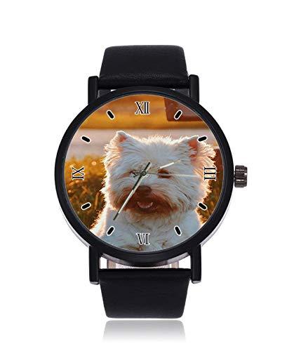 Personalisieren Sie Foto Hunde auf Leinwand Damen Custom Fashion Imitation Quarz Armbanduhr Schwarz Band Herren und Damen Armbanduhren