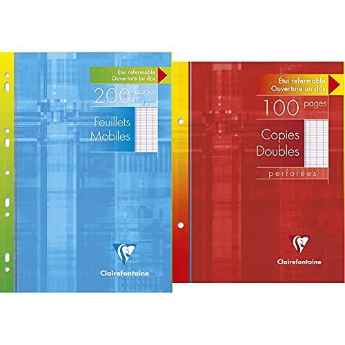 Clairefontaine 1751C - Un étui carton 200 pages Feuillets mobiles perforés 21x29,7 cm 90 g grands carreaux & 4421C - Un étui carton 100 pages Copie double perforées 17x22 cm 90g grands carreaux