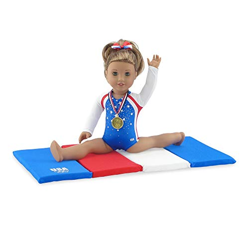 Emily Rose 18 Inch Doll Clothes for American Girl Dolls   Team USA 4 Piece Doll Gymnastics Set, Including Realistic Olympic Gold Medal!   Fits 18' American Girl Dolls