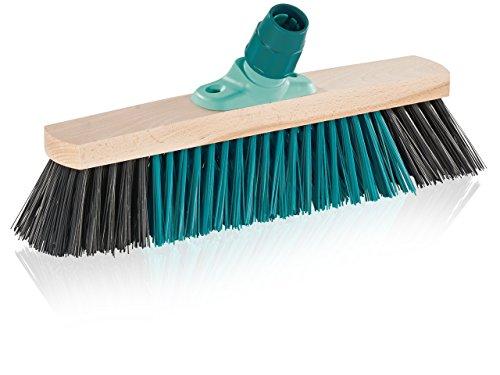 Leifheit Outdoor Besen Xtra Clean 40 cm mit X-Borsten für gründlicheres Fegen, Kehrbesen mit Borsten aus nassfestem Elaston, Feger mit Schraubgewinde, Besenkopf aus 100% Holz