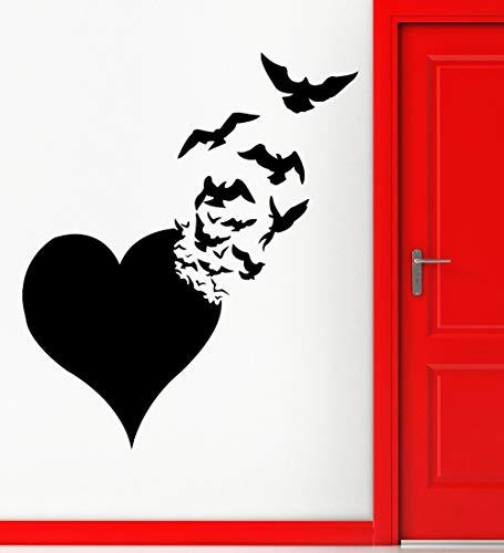 Liebe Wandaufkleber Herz Vögel Abstrakt Romantisch Vinyl Aufkleber 56cm x 88cm